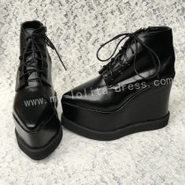 Black Velvet Lolita Heels Shoes High Platform
