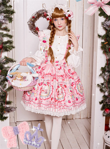 Strawberry Bunny~ Lolita Printed Salopette