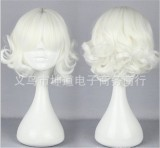 Sweet White Lolita Short Curls Wig for Girls
