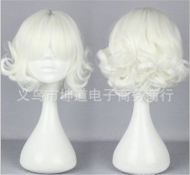 Sweet White Lolita Short Curls Wig for Girls