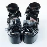 Black Matte Bows Straps Lolita High Platfrom Shoes