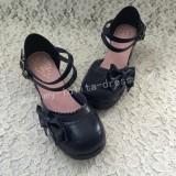 White Pink Bow Princess Lolita Shoes