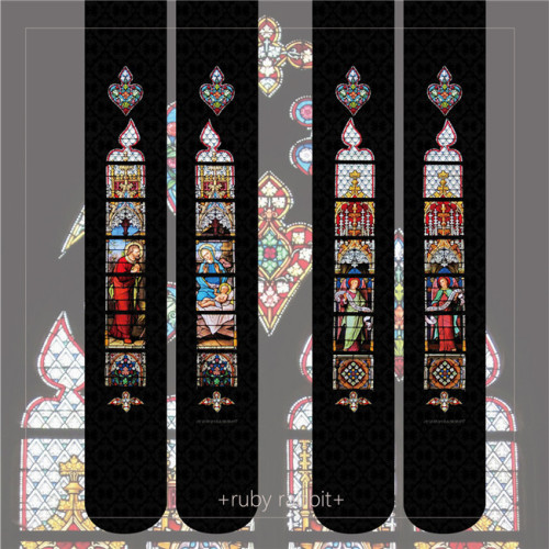 Ruby Rabbit ~ Stained Glass Thin Lolita Tights -Pre-order