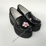 High Platform Sweet Black Lolita Shoes with Pink Sakura Pattern