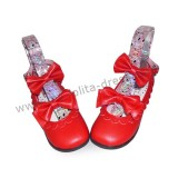 Matte Red Double Bow Lolita Shoes