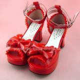 Glossy Red Ruffles Trim Pretty Girls Summer Shoes