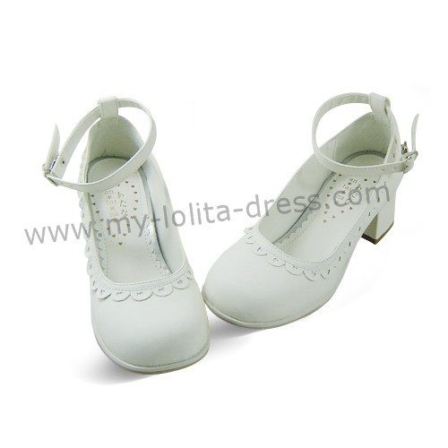White Floral PU Lolita Shoes