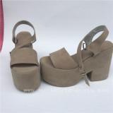 Beautiful Camel Velvet Square Heels Lolita Sandals