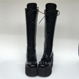 Black Matte Lace Up Knee Lolita Cylinder Boots