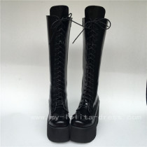 Black Matte Lace Up Knee Lolita Cylinder Boots