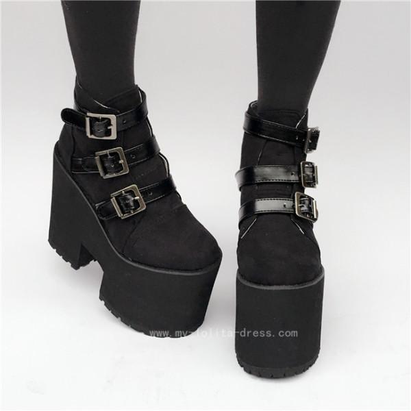 Punk Style Black Velvet Lolita High Paltform