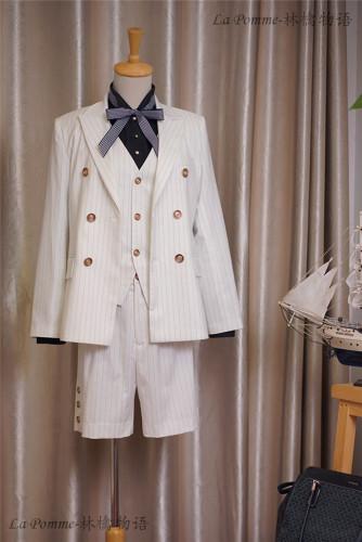 Stripe/Gingham/Unicolor Series -Ouji Lolita Full Set [--Coat + Vest + Short Pants --]