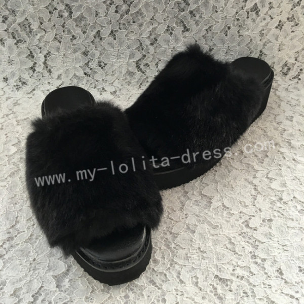 Black Imitate Bunny Furs Lolita High Platform Sandals