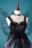 The Butterfly Effect ~Punk Halloween Lolita High Waist JSK - Silver Gray Long Version M - In Stock