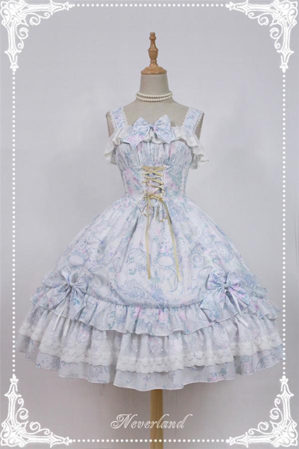 Neverland Lolita -Antique Clock- Chiffon Tailored Lolita Printed JSK