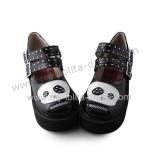 Black White Panda Girls Shoes