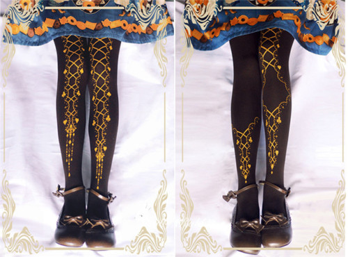 Ribbon Poker~ Gothic Lolita Printed Tights