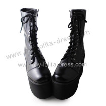 Matte Black Lace Up Classic Girls Boots