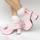 Pink Bows Wide Strap Lolita Shoes