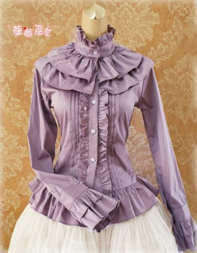Cotton Tailored Light Purple Lolita Blouse - Good for Tailor Wine Size M - In Stock