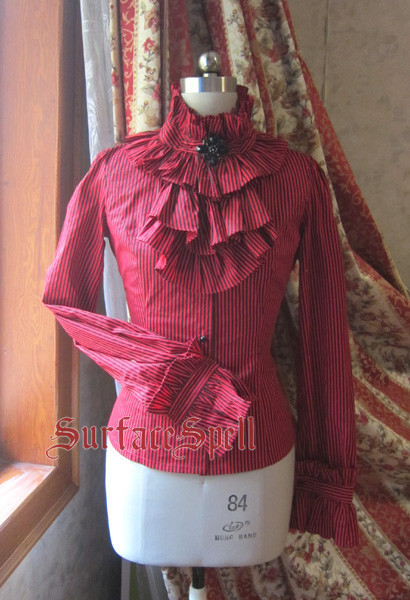Gothic Red High Collar Lolita Blouse