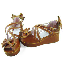 Light Coffee Bows Lolita Summer Sandals