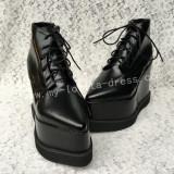 Black Velvet Lolita Heels Shoes High Platform