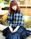 White Black Gingham Ruffles Heart Lolita Cape off