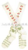 White Cotton Strawberry Printed Girls Socks