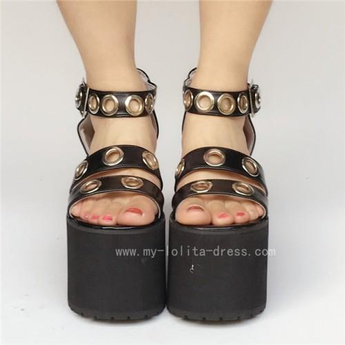 High Platform Black Matte Lolita Sandals