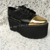 Matte Black Gold Lolita High Platform