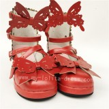 Sweet Wine Matte Bows Straps Lolita Shoes