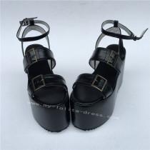 Black Matte Lolita High Platform Sandals