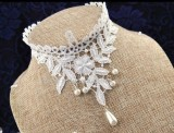 White Sweet Flower Leaves Lolita Choker Fake Collar