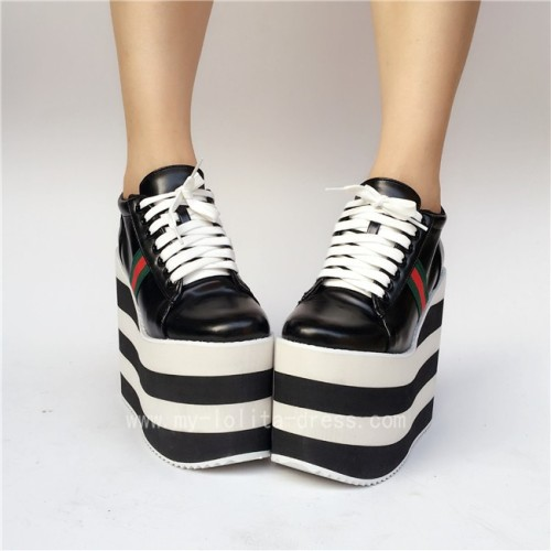 Black with White Lolita High Platform Shoes