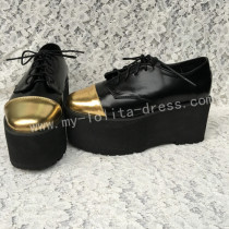 Matte Black Gold Lolita High Platform