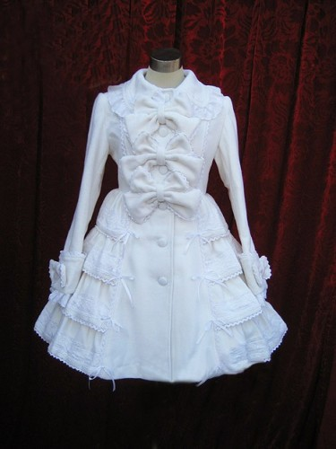Cream White A-line Sweet Lolita Jacket with Bows and Lace