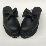 Gothic Black Real Cowhide Lolita Sandals with bows