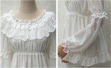 Sweet Lace Chiffon Long Sleeves Round Collar Lolita Blouse White Average