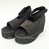 High Platform Black Velvet Open Toes lolita Shoes