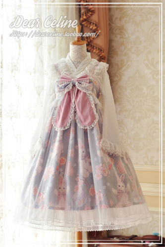 Dear Celine ~Sakura Rabbit~ High Waist Lolita JSK -Ready Made
