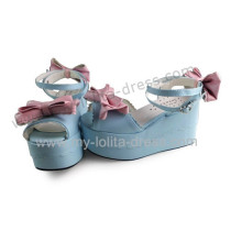 Open Tow Blue Lolita Sandals Pink Bows