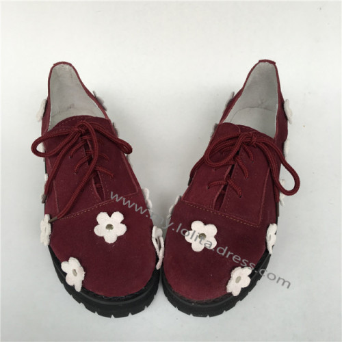 Sweet Yak Wool Real Leather Flats Shoes with flowers