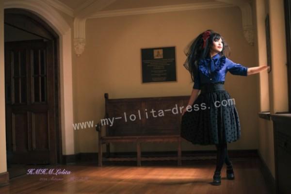 Sweet Black Dots Mesh High Waist Lolita Skirt