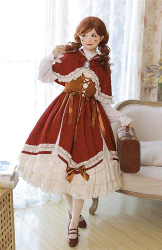 Little Red Riding Hood~ Vintage Lolita JSK + Cape Set ~Ready Made