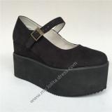 High Platform Black Velvet Lolita Shoes