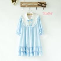 Cute Doll Chiffon Lolita Dress Skyblue M In Stock