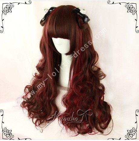 Dark Brown Wine Curls Lolita Wig