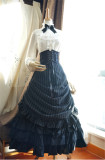 Victoria's Basil Gorgeous Striped Lolita Skirt Black Size L + Vest - In Stock