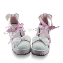 White Lolita Shoes Pink Trim